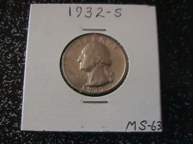 Washington Silver Quarter 1932-S MS-63 Condition