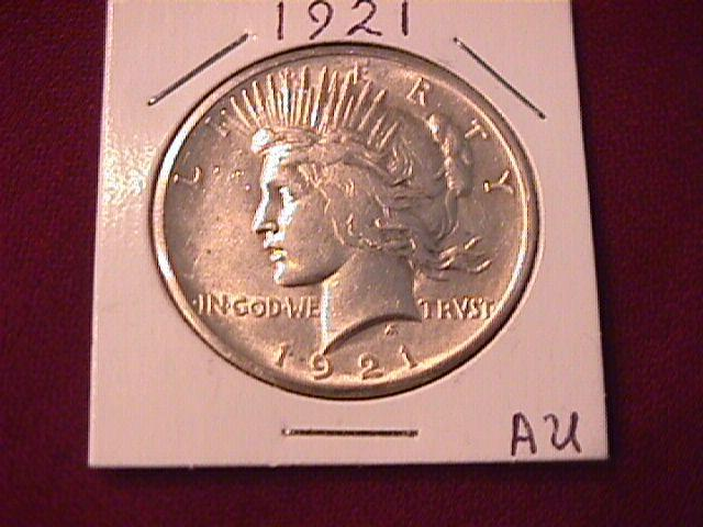 Peace Type Silver Dollar  1921 AU Condition