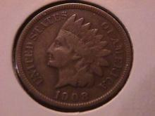 Indian Head Copper 1 Cent  1908-S  Extremely Fine #40 Condition