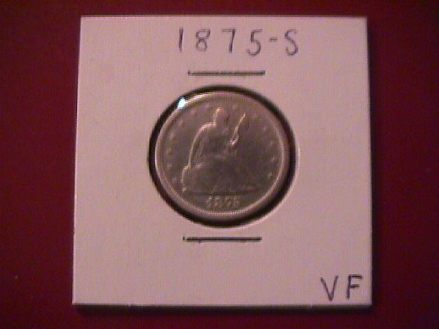 Liberty Seated Silver Twenty Cent Piece 1875-S  Very Fine Condition