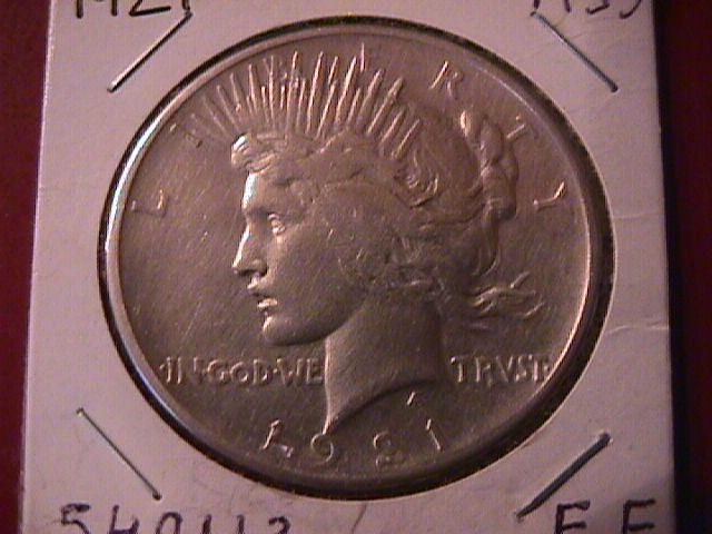 Peace Type Silver Dollar 1921  Extremely Fine Condition