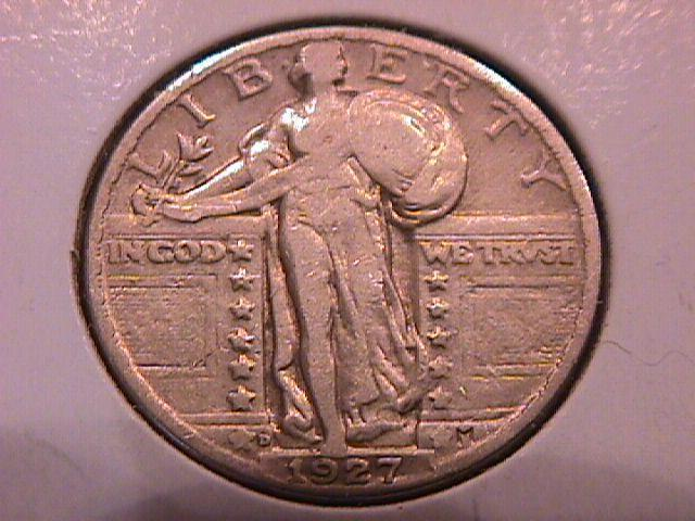 Standing Liberty Silver Quarter 1927-D Very Fine Plus Condition