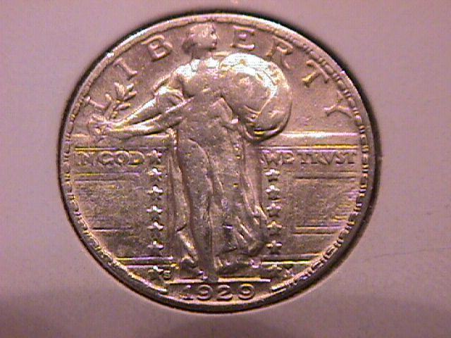 Standing Liberty Silver Quarter 1929-S Very Fine Plus Condition