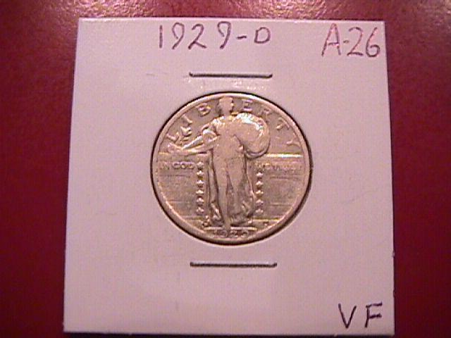 Standing Liberty Silver Quarter 1929-D Very Fine  Condition