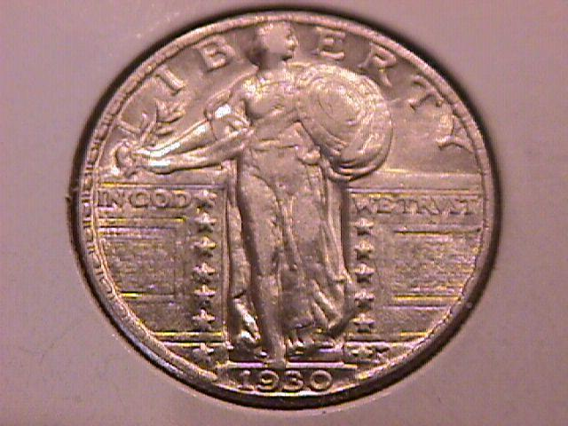 Standing Liberty Silver Quarter 1930 Almost Uncirculated Condition