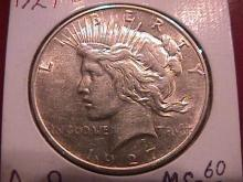Peace Type Silver Dollar   1927-D  Mint State 60/63 Condition
