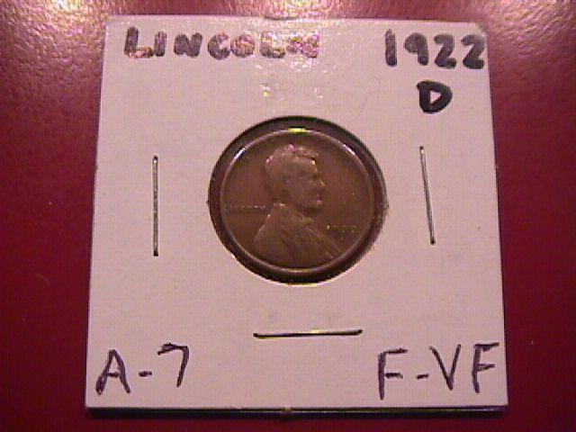 Lincoln Cent 1922-D Fine to Very Fine Condition