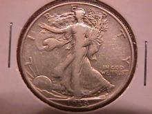 Liberty Walking Silver Half Dollar  1938-D Very Fine #20 Condition