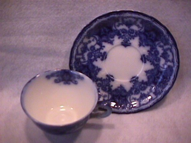 John Maddock and Sons-Flow Blue (Dainty) Cup & Saucer