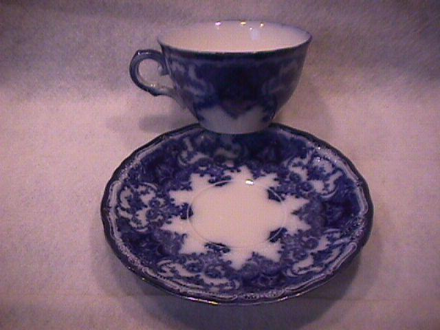 John Maddock and Sons-Flow Blue (Dainty) Cup & Saucer As Is