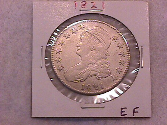Capped Bust Half Dollar  1821 Extremely Fine Condition