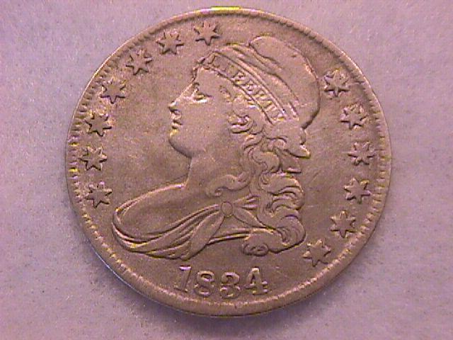 Capped Bust Half Dollar  1834 Very Fine Condition