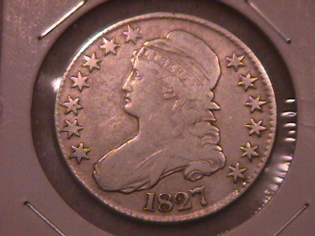 Capped Bust Silver Half Dollar  1827  Fine Plus Condition