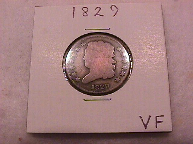 Coin Classic Head Half Cent  1829   Fine to Very Fine Condition