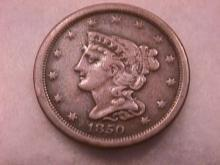 Coin Braided Hair Half Cent  1850  Very Fine to Extremely Fine Condition