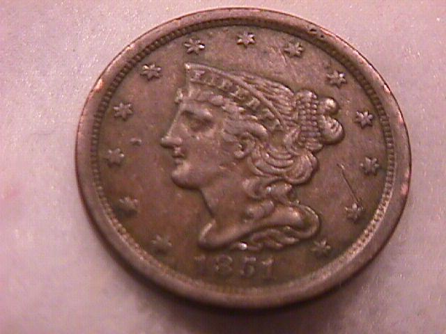 Coin Braided Hair Half Cent  1851  Extremely Fine to Almost Uncirculated Condition