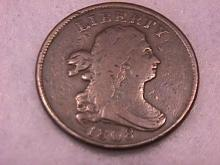 Draped Bust Copper Coin  1808 Half Cent =  Very Fine Condition