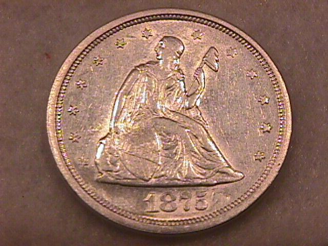 Liberty Seated Silver Coin Twenty Cent Piece  1875-S   Almost Uncirculated Condition