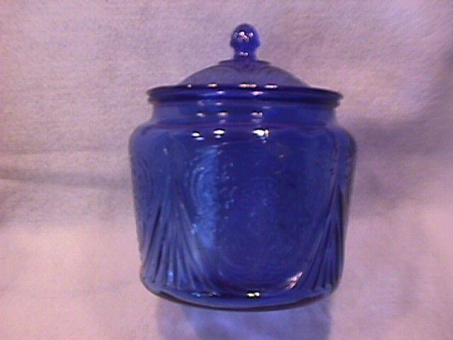 Vintage=Rare Hazel Atlas Glass (Royal Lace-Cobalt Blue) C/Cookie Jar