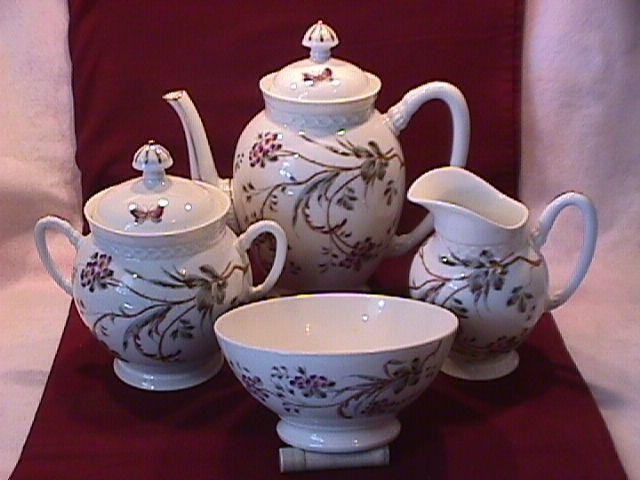 E. F.-BL Unknown Porcelaine (Butterfly & Bush) Coffee Set