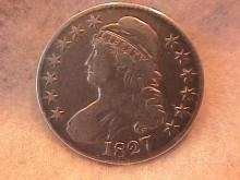 Capped Bust Silver Half Dollar 1827 Very Fine to Extremely Fine Condition