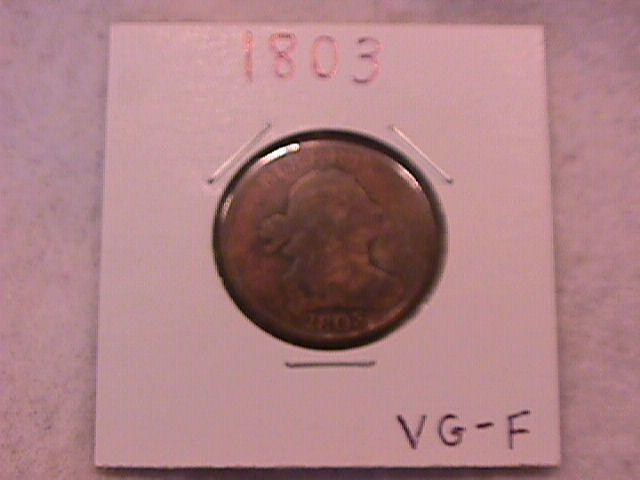 Half Cent Copper Coin Draped Bust-1803  Very Good To Fine Condition