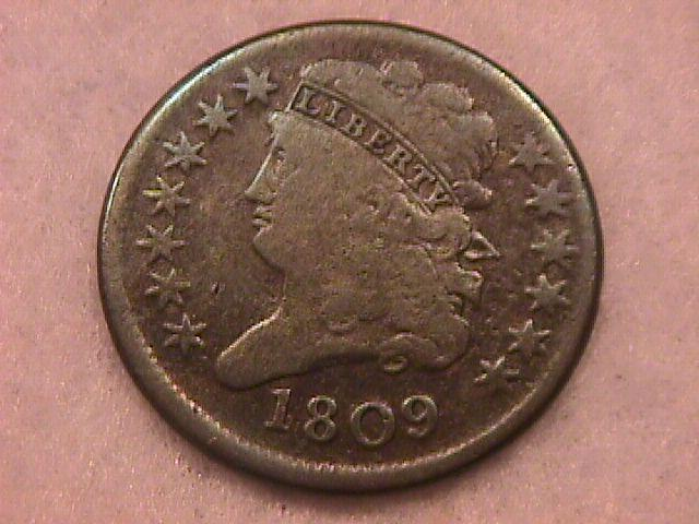 Half Cent Copper Coin Classic Head-1809 Fine To Very Fine Condition