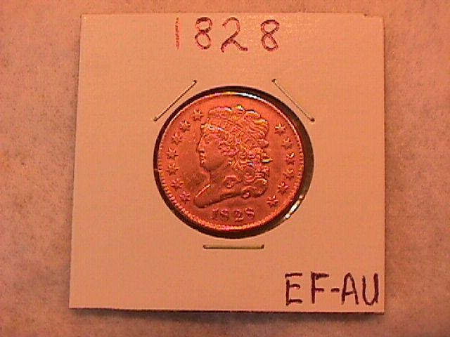 Half Cent Copper Coin Classic Head-1828 Extremely Fine To Almost Uncirculated Condition