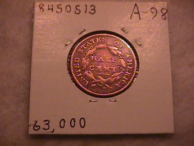 Classic Head Half Cent Coin 1825 Very Fine Plus Condition