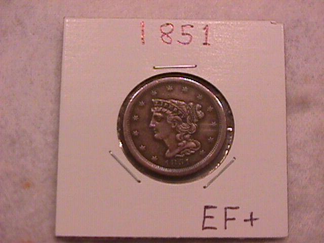Braided Hair Half Cent Coin 1851 Extremely Fine to Almost Uncirculated Condition