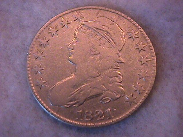 Capped Bust Half Dollar Coin 1821 Fine Plus Condition