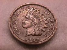 Indian Head Penny Copper Coin 1908-S Very Fine Plus Condition