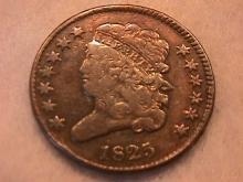 Classic Head Half Cent Coin 1825 Fine Plus Condition