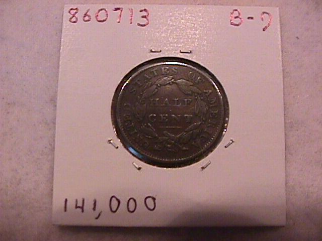 Coin Classic Head Half Cent 1834 Very Fine to Extremely Fine Condition