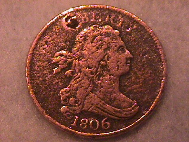 Draped Bust Half Cent Coin 1806 Very Fine Plus Details with 1 Pit on Both Sides