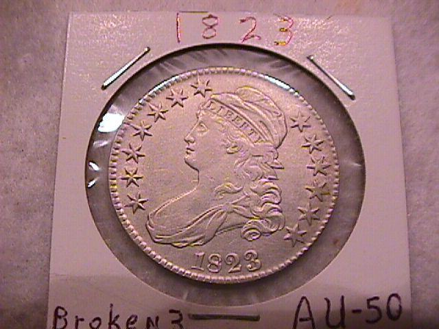 Capped Bust Half Dollar Coin 1823 Broken 3 High Grade= Almost Uncirculated