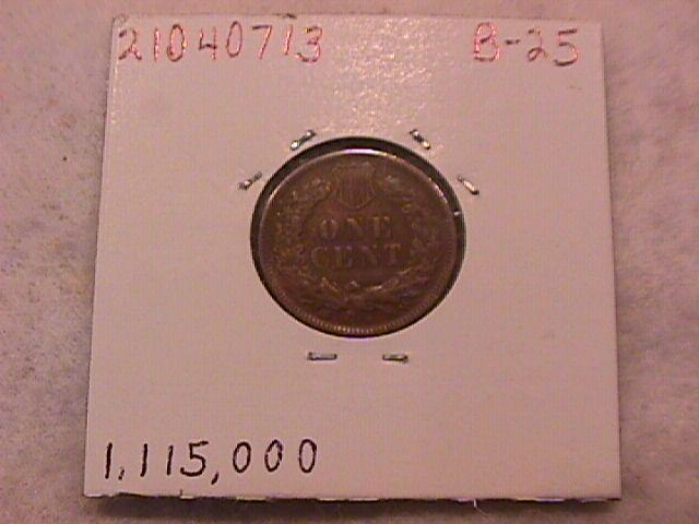 Indian Head One Cent Copper coin 1908-S Extremely Fine condition