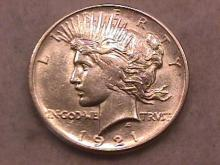 Peace Type Silver Dollar 1921 Uncirculated to Mint State 63 Condition