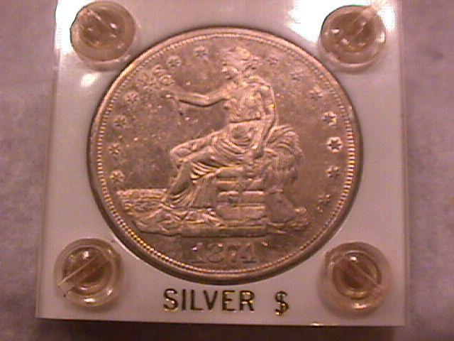 Trade Dollar Silver 1874-S Choice About Uncirculated Condition
