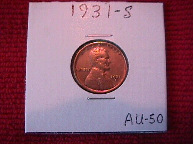 Lincoln Penny Copper 1931-S Almost Uncirculated 50 Condition