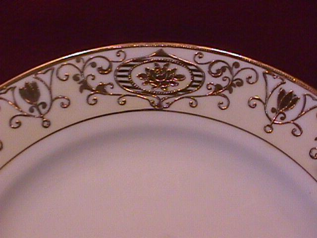 Noritake China-Nippon-(White & Gold) Cake Plate