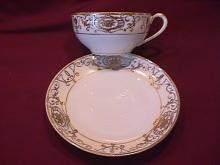 Noritake China-Nippon-(White & Gold) Cup & Saucer Style #2