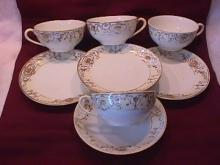 Noritake China-Nippon-(White & Gold) 4=Cups & Saucers (Worn) Style #2