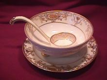 Noritake China-Nippon- (White & Gold) (RARE) = 3-Piece Whip Cream Set