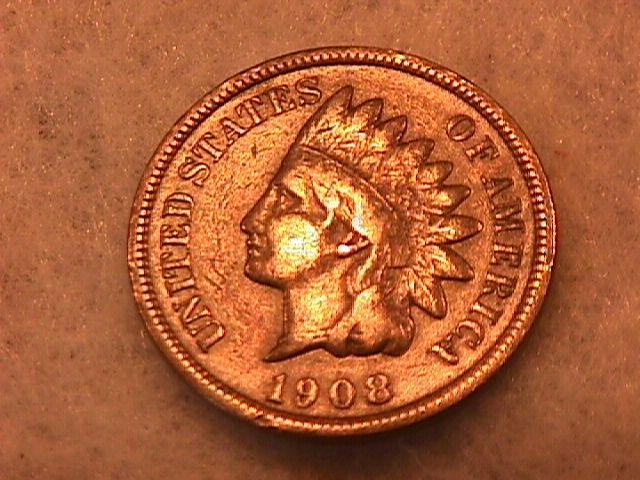 INDIAN HEAD Copper ONE CENT 1908-S Fine Condition
