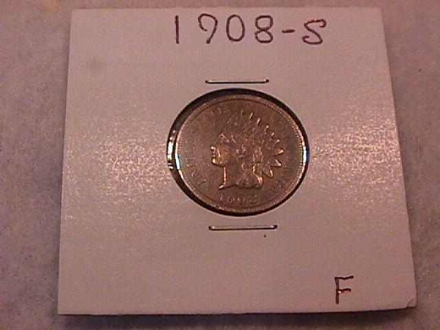 INDIAN HEAD Copper ONE CENT 1908-S Fine Condition
