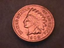 INDIAN HEAD Copper ONE CENT 1908-S Very Fine Condition
