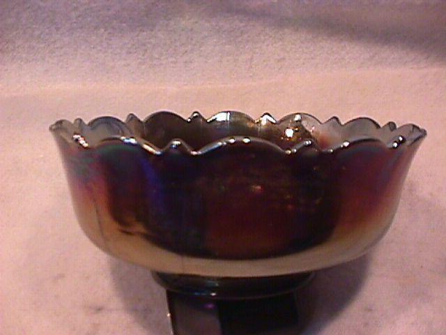 Fenton Carnival Glass (Grape & Cable) Nut Bowl-Blue