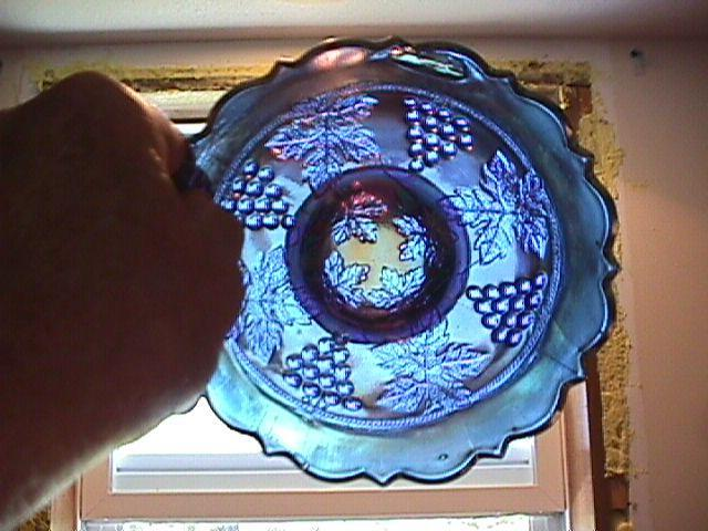 Fenton Carnival Glass (Grape & Cable) Nut Bowl-Blue