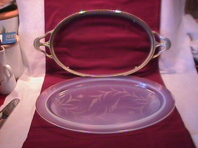 Rare= Fry Oven Glass Platter & Stand
